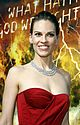 hilary swank asymmetrical red dress 48