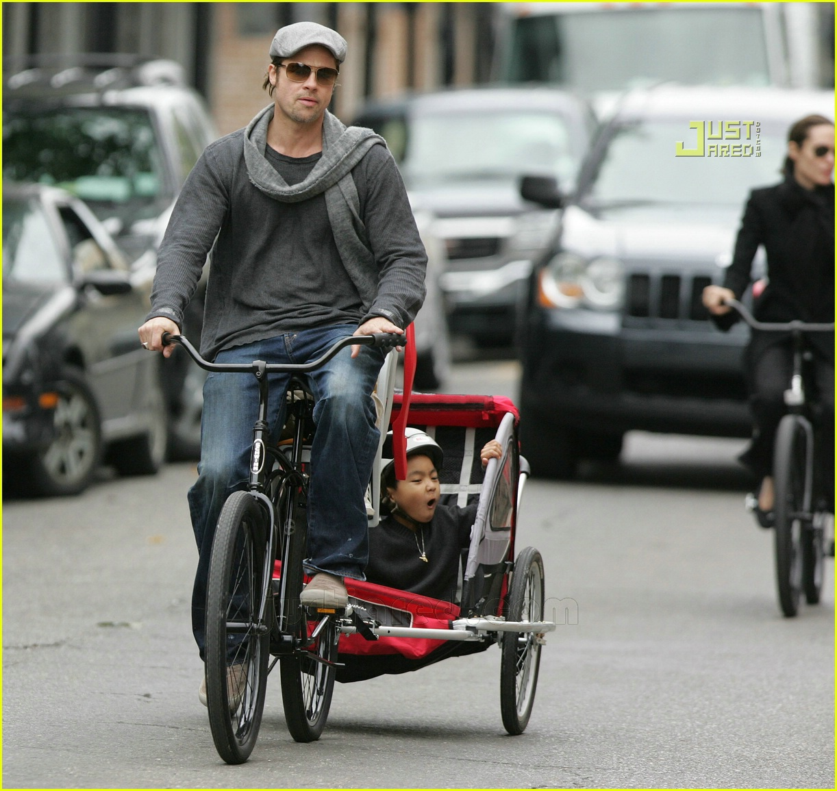 Full Sized Photo Of Brad Pitt Bicycle Built For Four 17