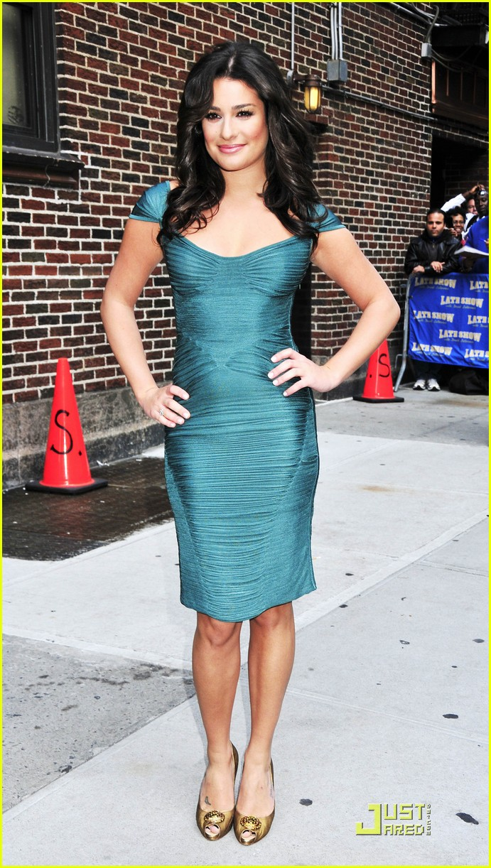 lea michele meets david letterman 032267062