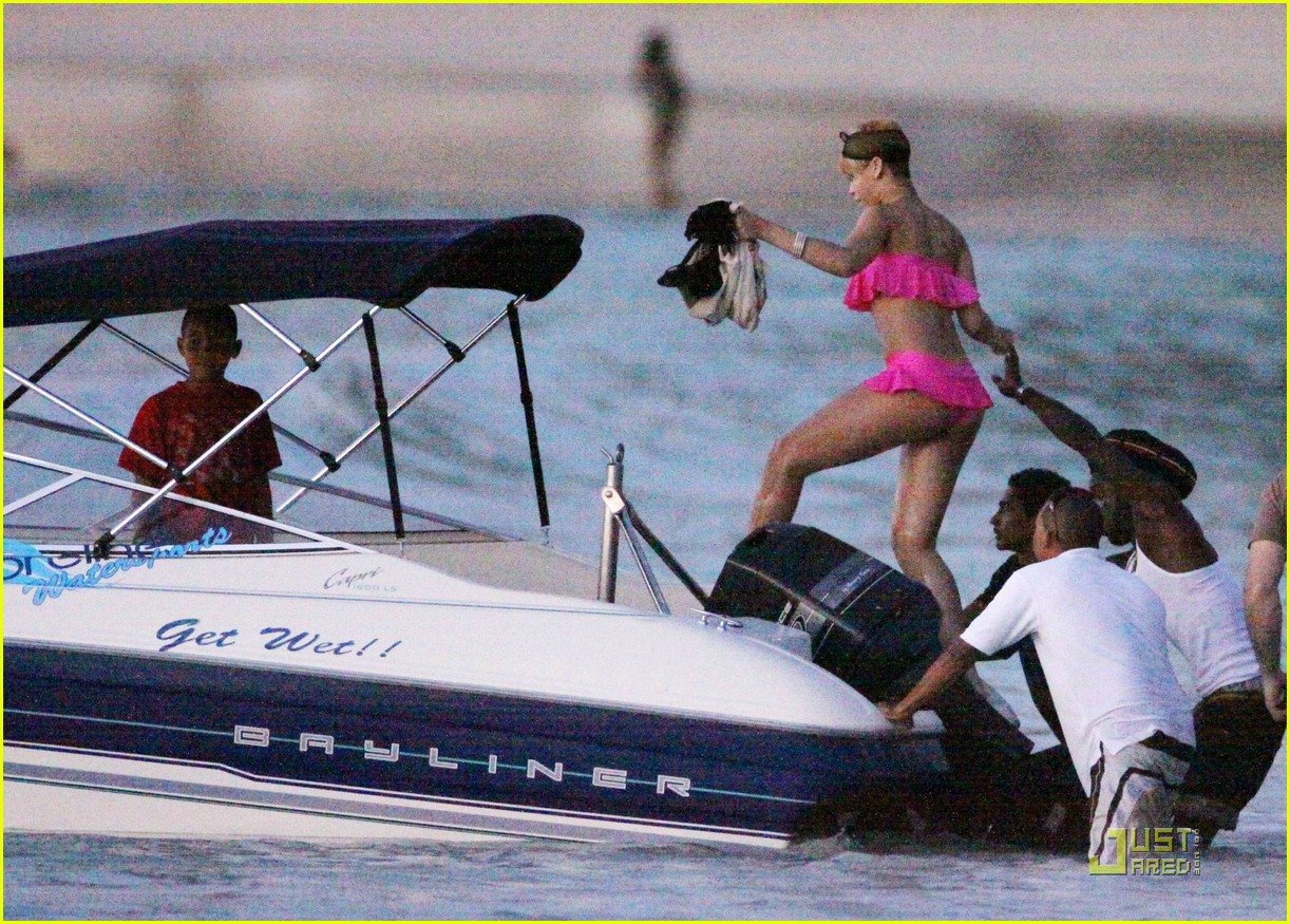 rihanna ruffled pink bikini barbados 222404219