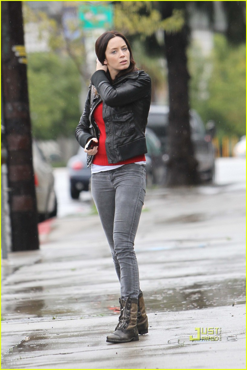 emily blunt studio los angeles rainy leather jacket 012410635