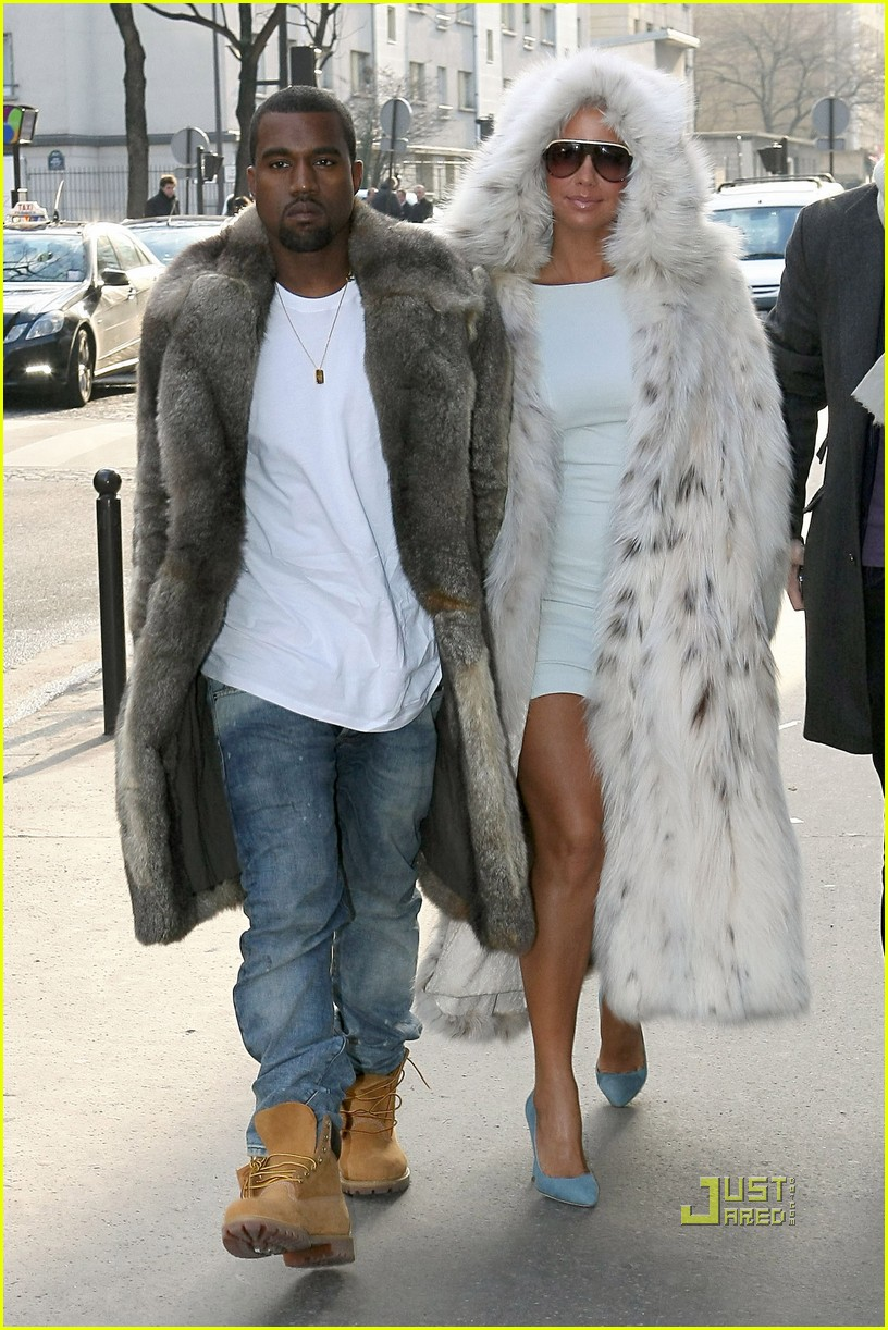 kanye west amber rose fur coats louis vuitton paris fashion week 03