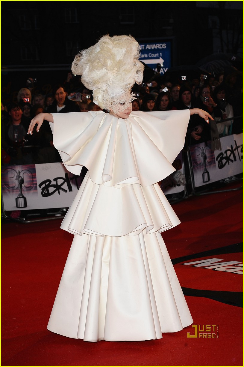 lady gaga brit awards white tier dress 012428115