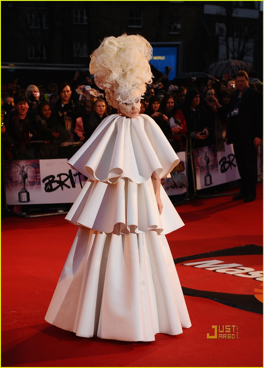 lady gaga brit awards white tier dress 04