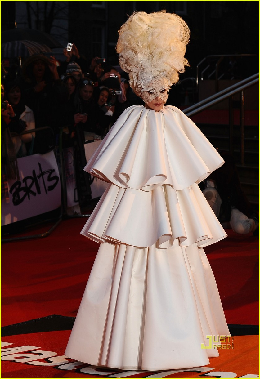 lady gaga brit awards white tier dress 07
