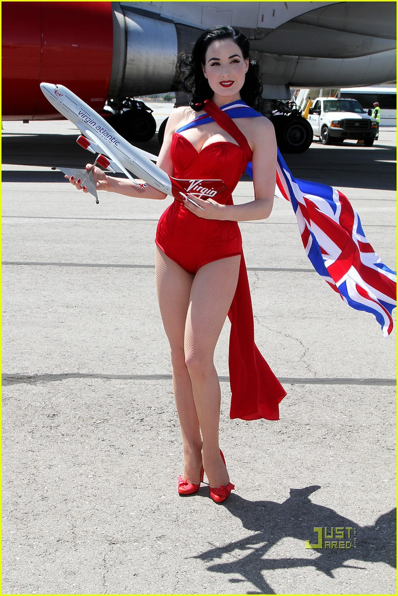 dita von teese virgin atlantic london to vegas 11