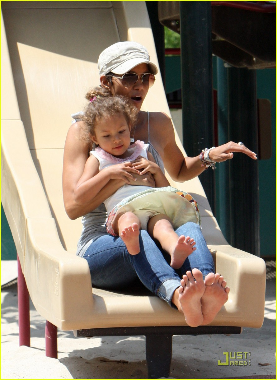 halle berry down the slide with nahla 11