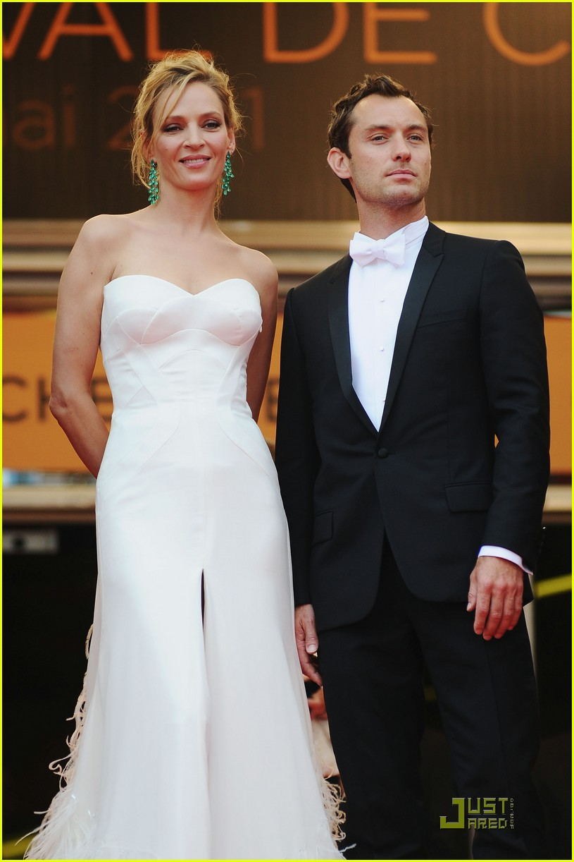 jude law cannes opening ceremony with uma thurman 05