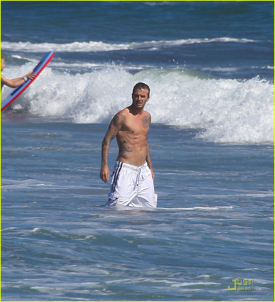 david beckham shirtless surfing  17