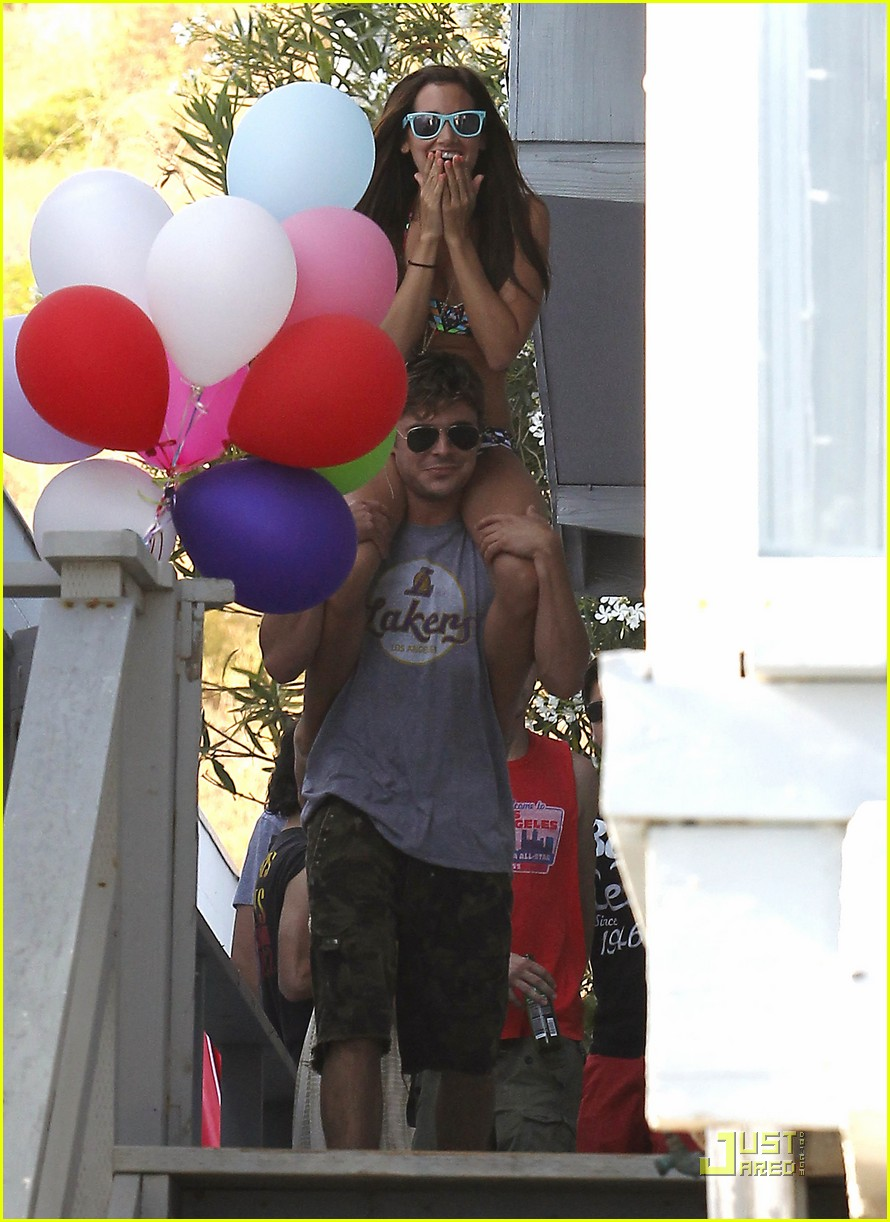 zac efron shirtless piggyback ride for ashley tisdale 342557399