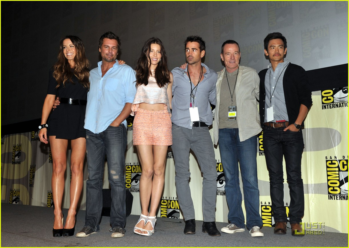 colin farrell jessica biel total recall at comic con 15
