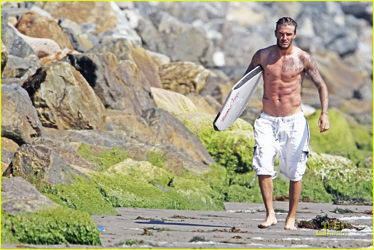 david beckham shirtless beach 132574116