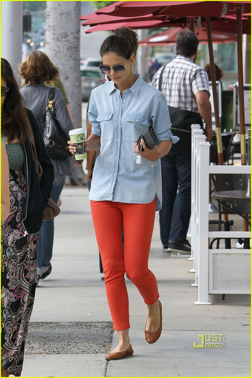 katie holmes orange pants 192572428