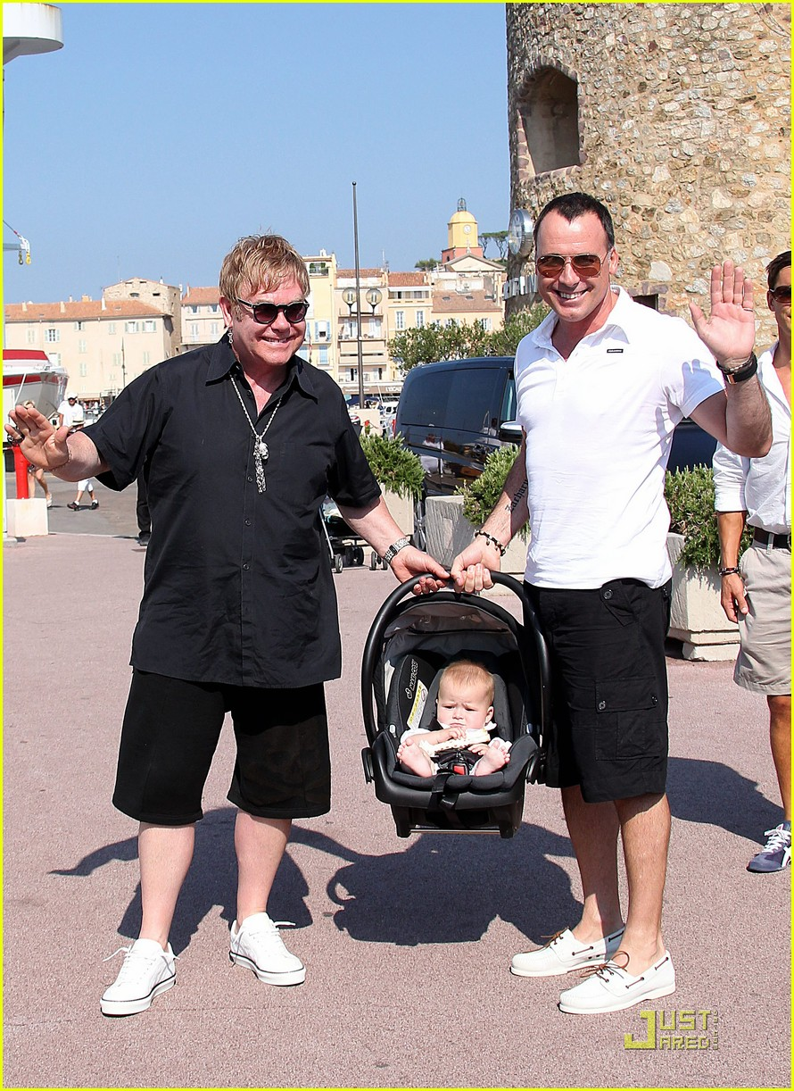 elton john david furnish st tropez with baby zachary 17