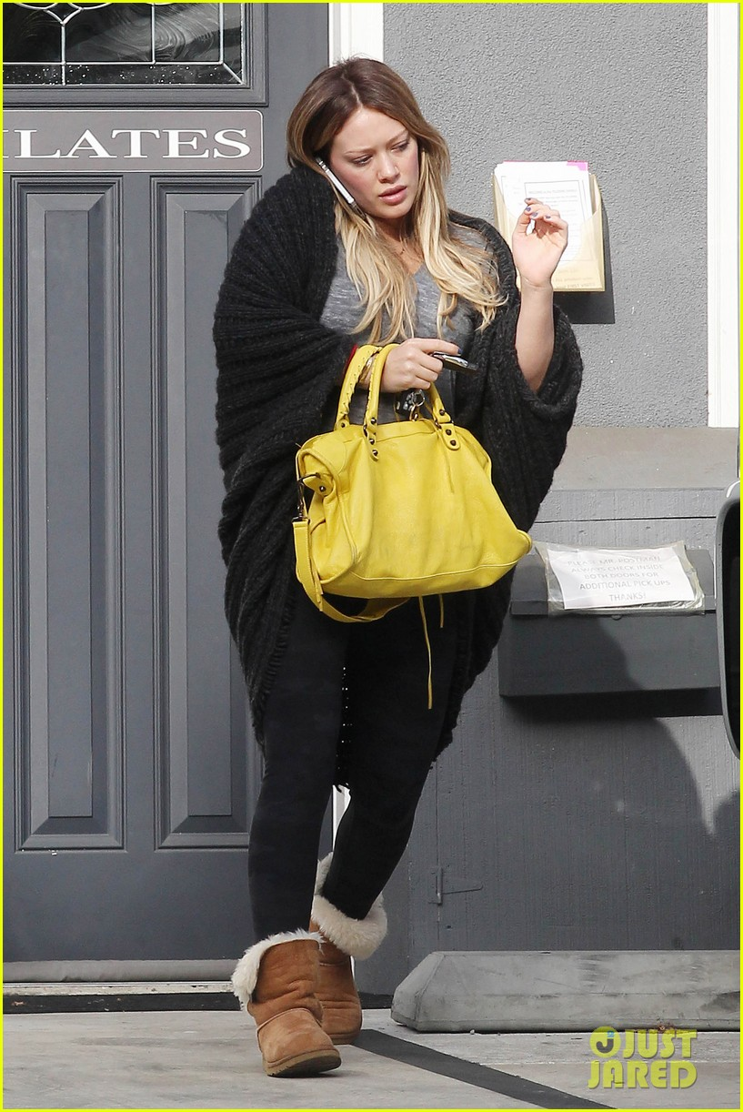 hilary duff yellow purse pilates 072585221
