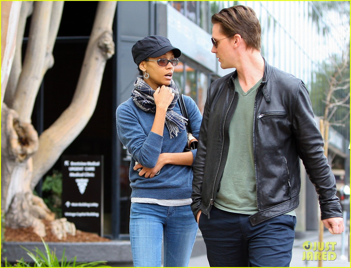 zoe saldana keith britton leave office building 03