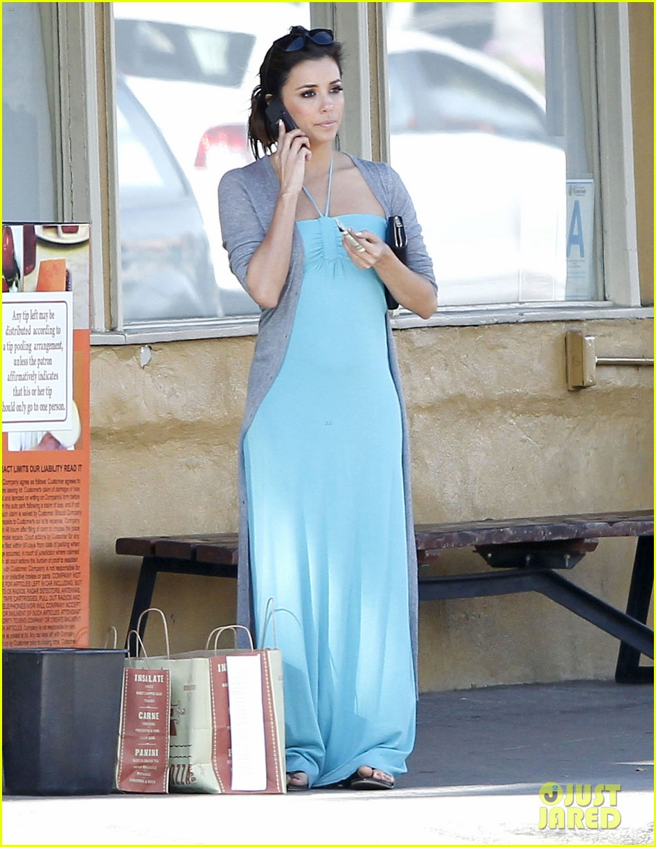 eva longoria blue maxi dress 01