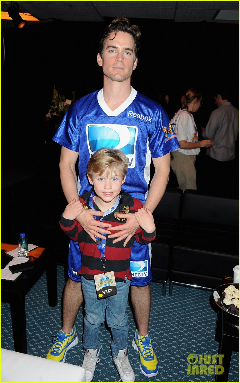 matt bomer super bowl events with son kit 01