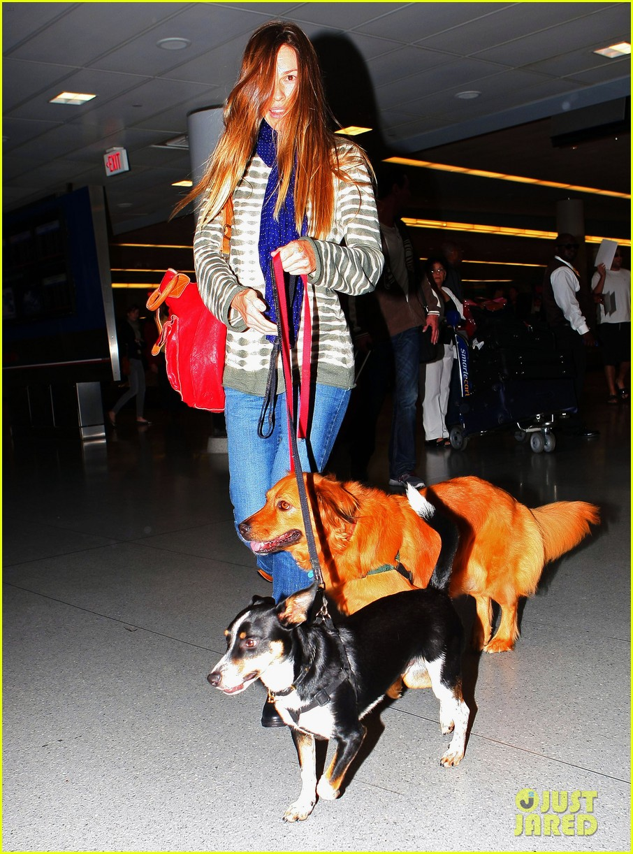 hilary swank dogs at airport 132658046