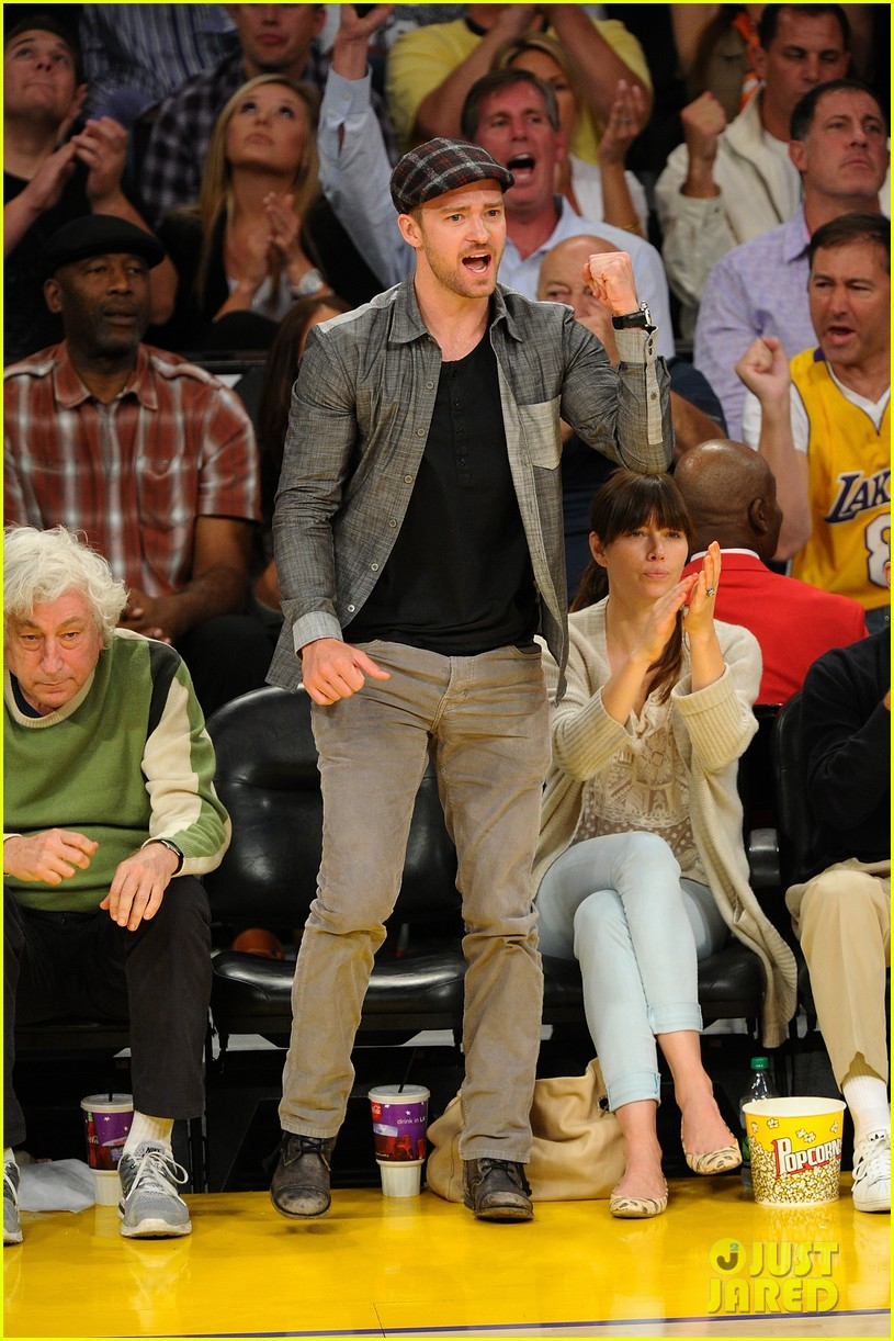 justin timberlake jessica biel lakers game 03