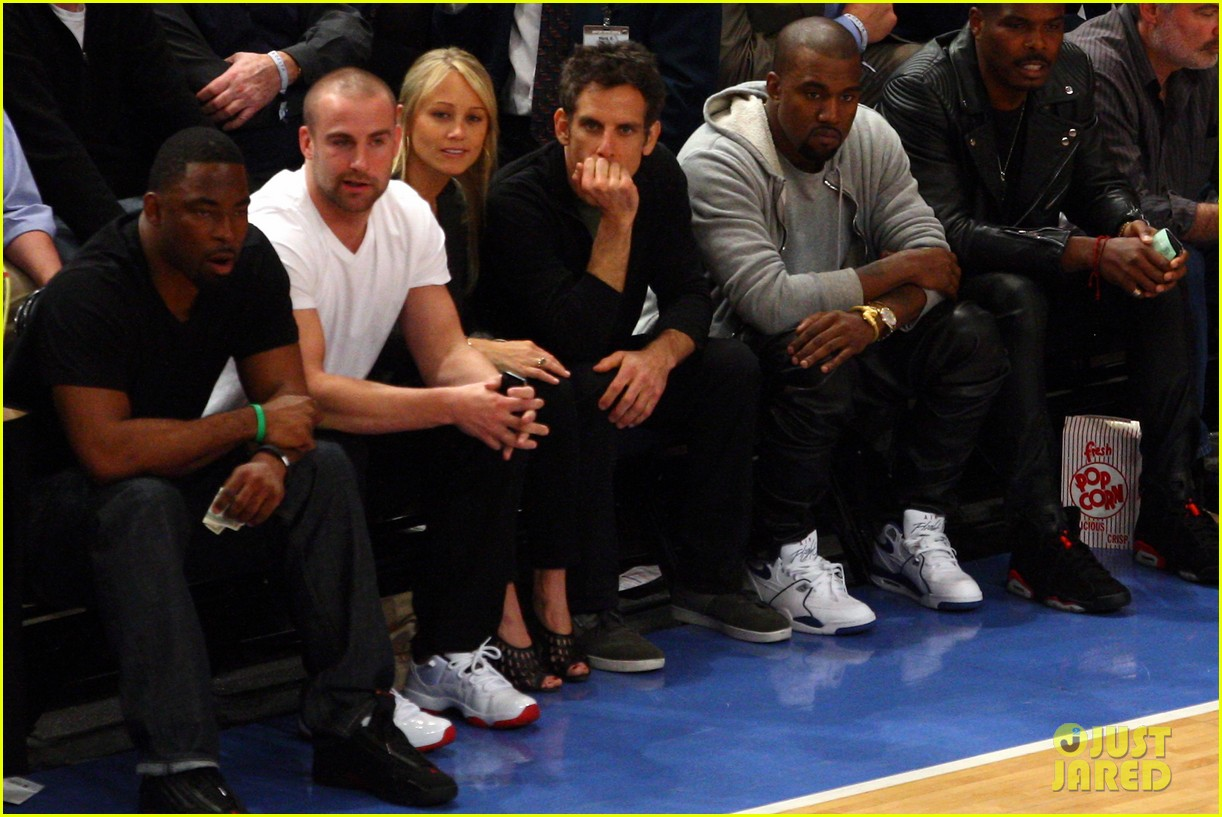 kanye west knicks playoff game with ben stiller 022656975