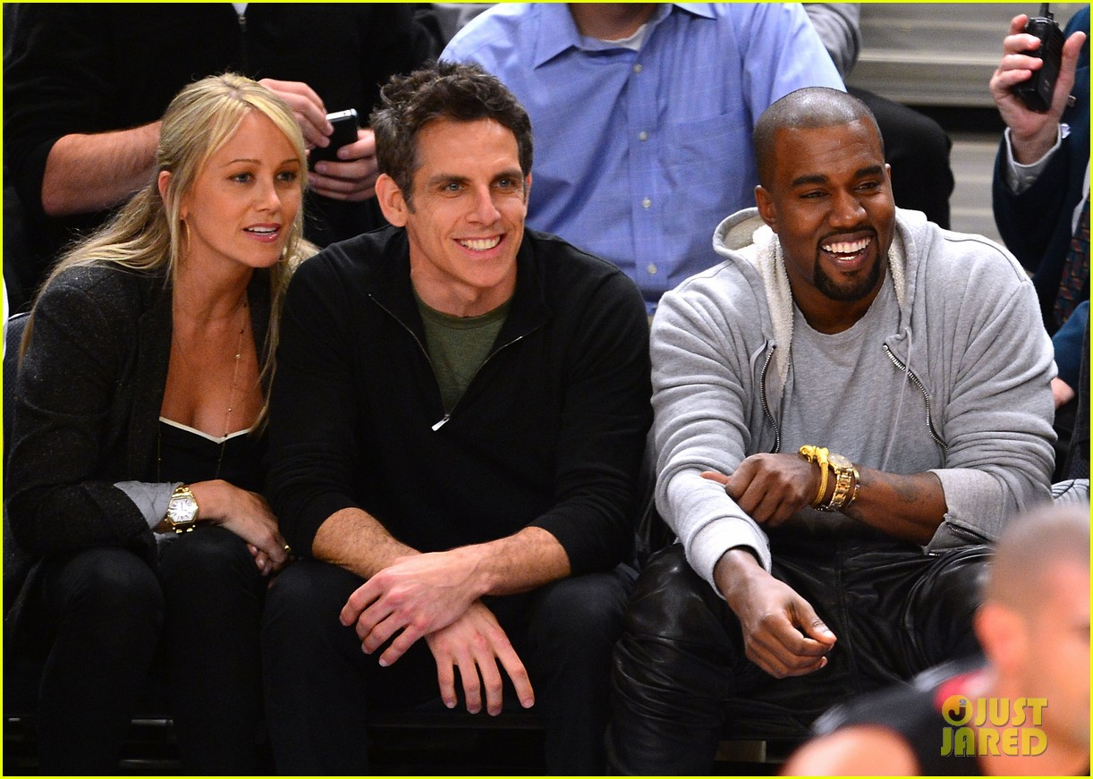 kanye west knicks playoff game with ben stiller 04