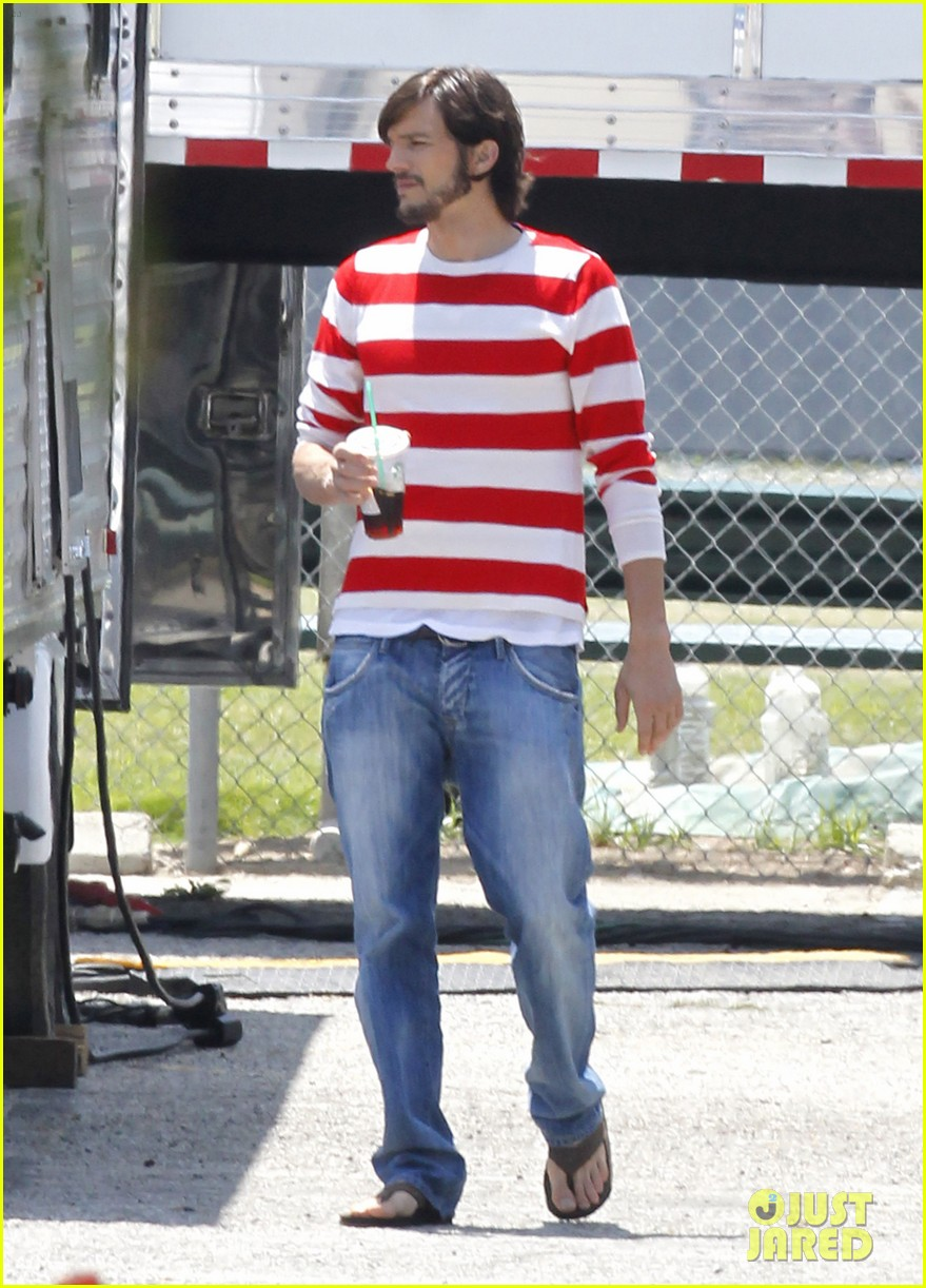 ashton kutcher stripes on jobs set 172675612