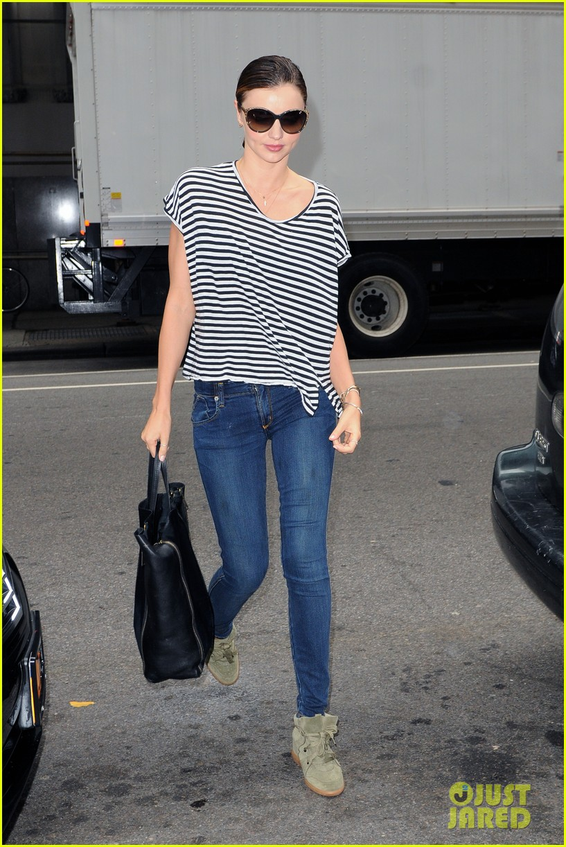 miranda kerr heads out striped shirt 02