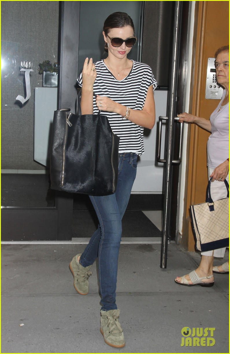 miranda kerr heads out striped shirt 05