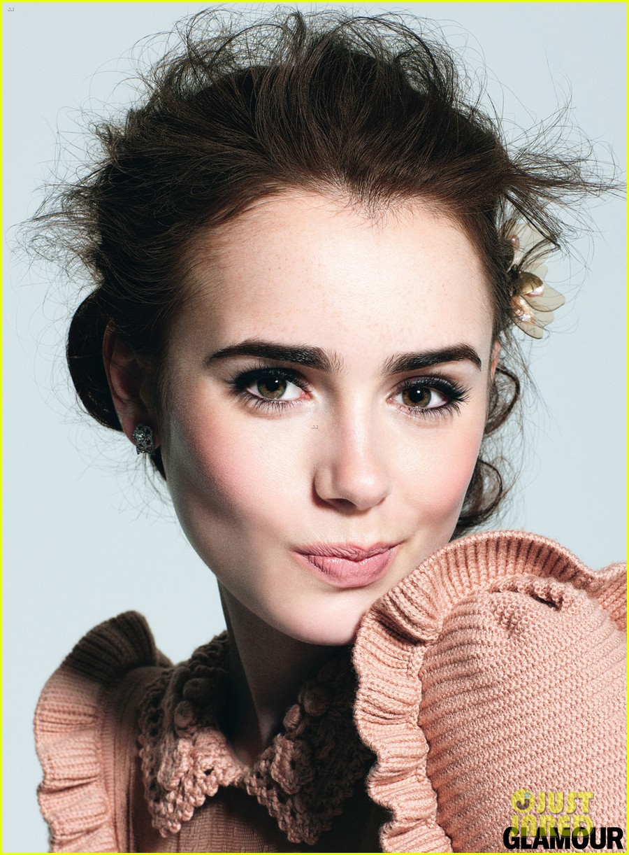 Glamour Makeup: Lily Collins: 'Glamour' Beauty Feature