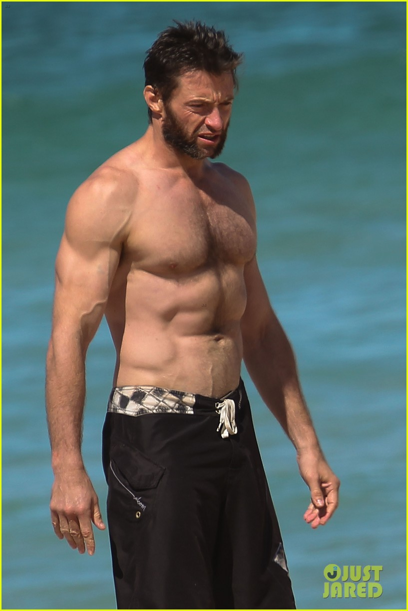 hugh jackman shirtless at bondi beach 02