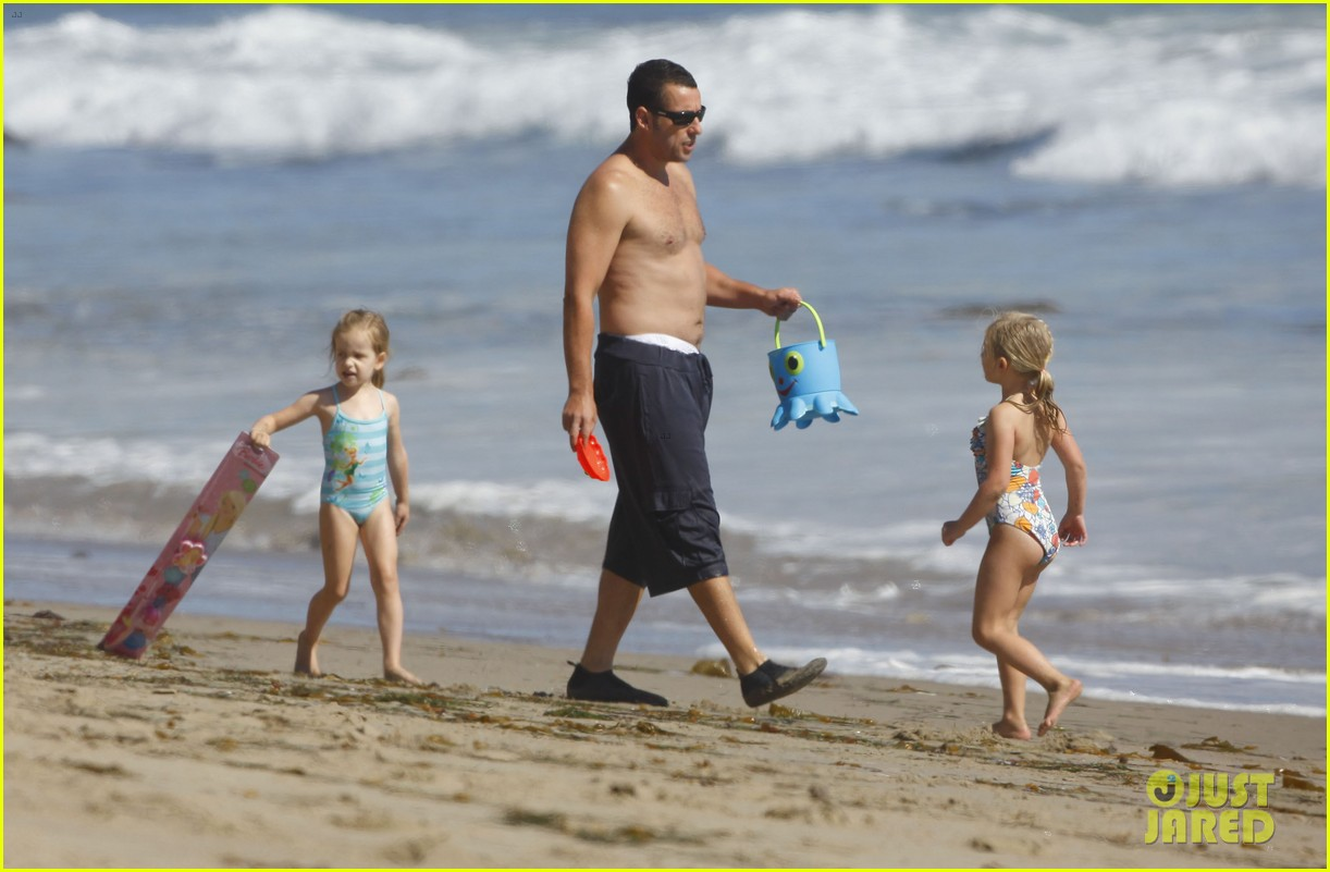 adam sandler shirtless beach time with sadie sunny 12