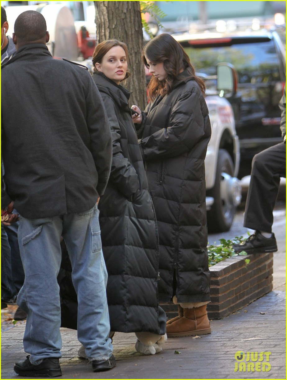 leighton meester ed westwick chilly gossip girl set 04