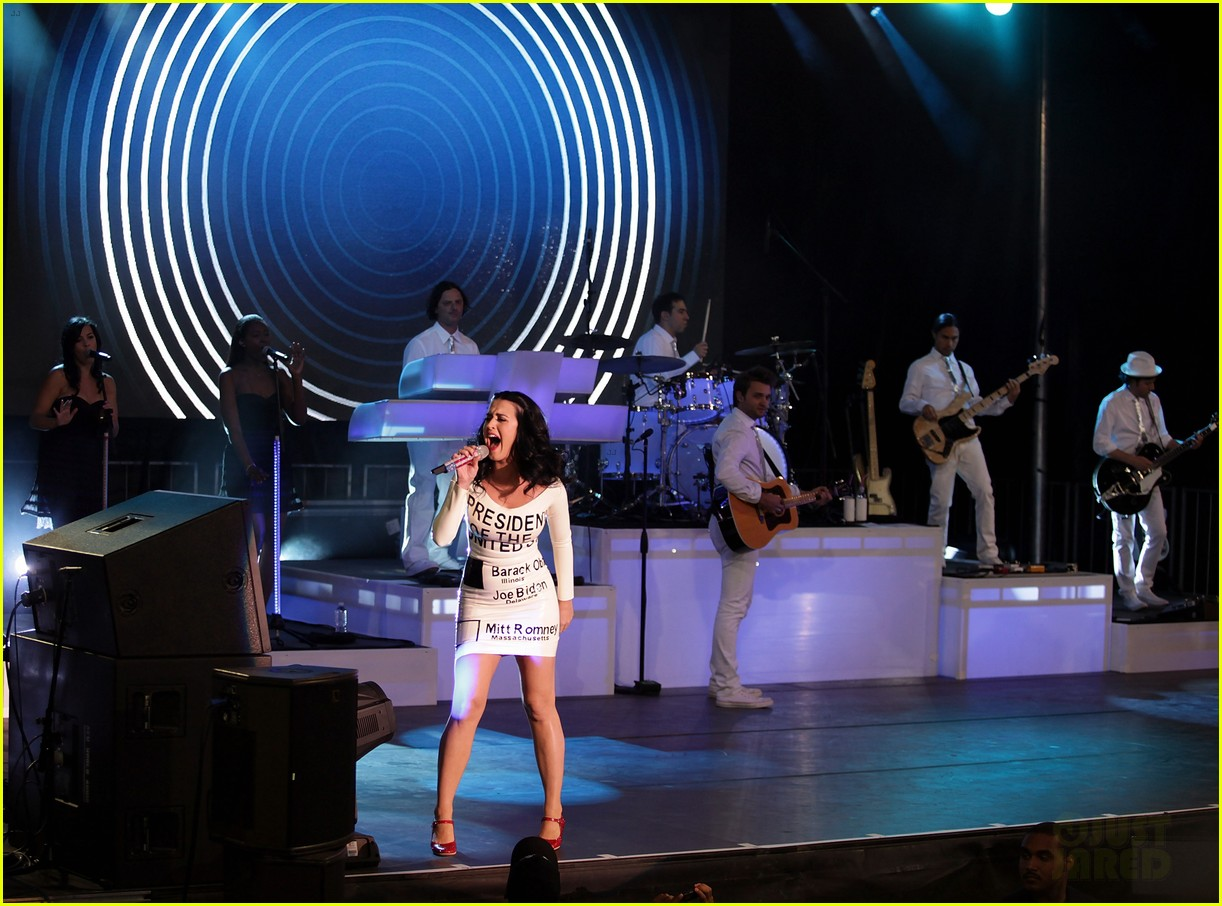 katy perry voting ballot dress at obama rally 08