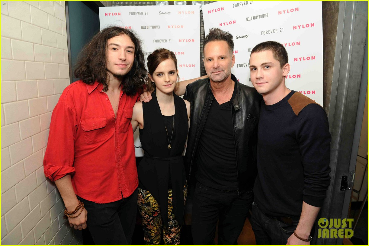 emma watson nylon dinner with logan lerman ezra miller 02