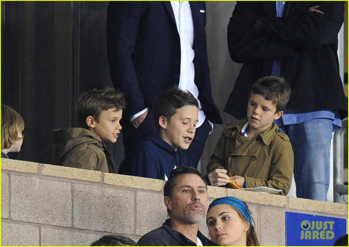 david beckham boys cheer him on at galaxy soccer game 042755893