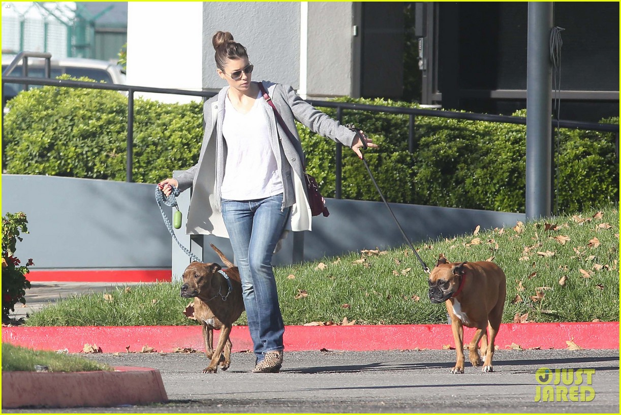 jessica biel dog walk before private plane departure 01