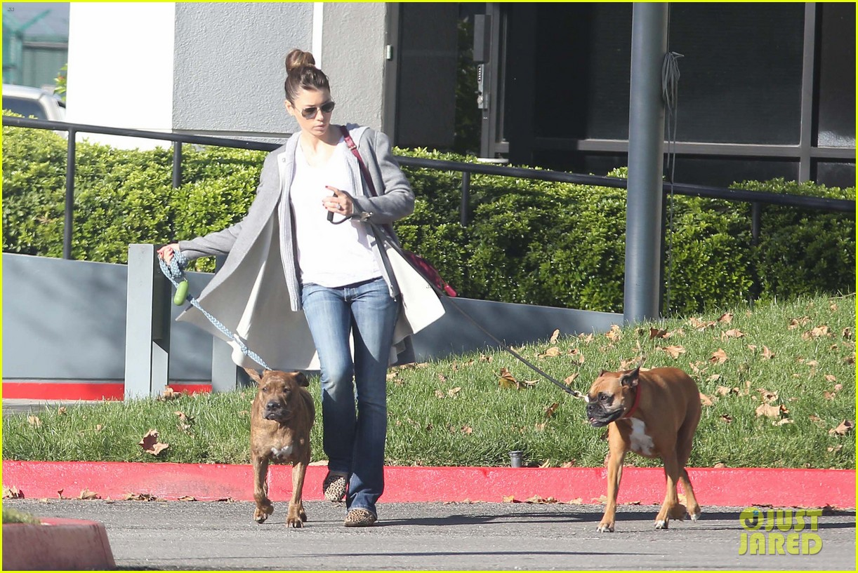 jessica biel dog walk before private plane departure 08