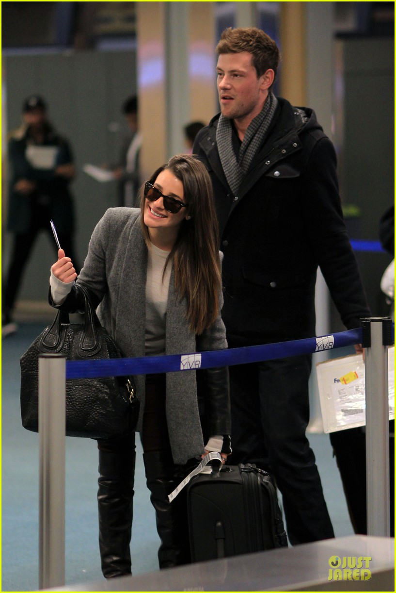 lea michele cory monteith vancouver departing couple 09