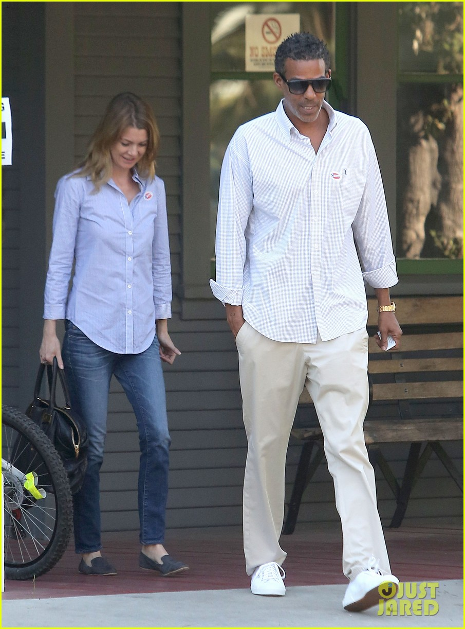 ellen pompeo election day voting with chris ivery 072752148