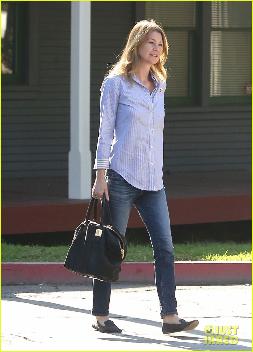 ellen pompeo election day voting with chris ivery 12