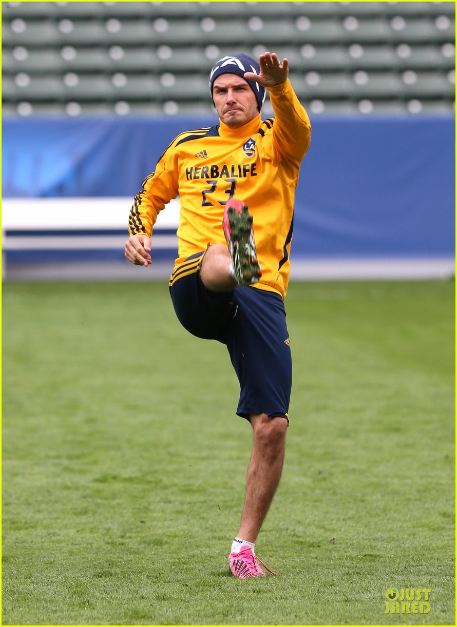 david beckham final galaxy game practice 202767080