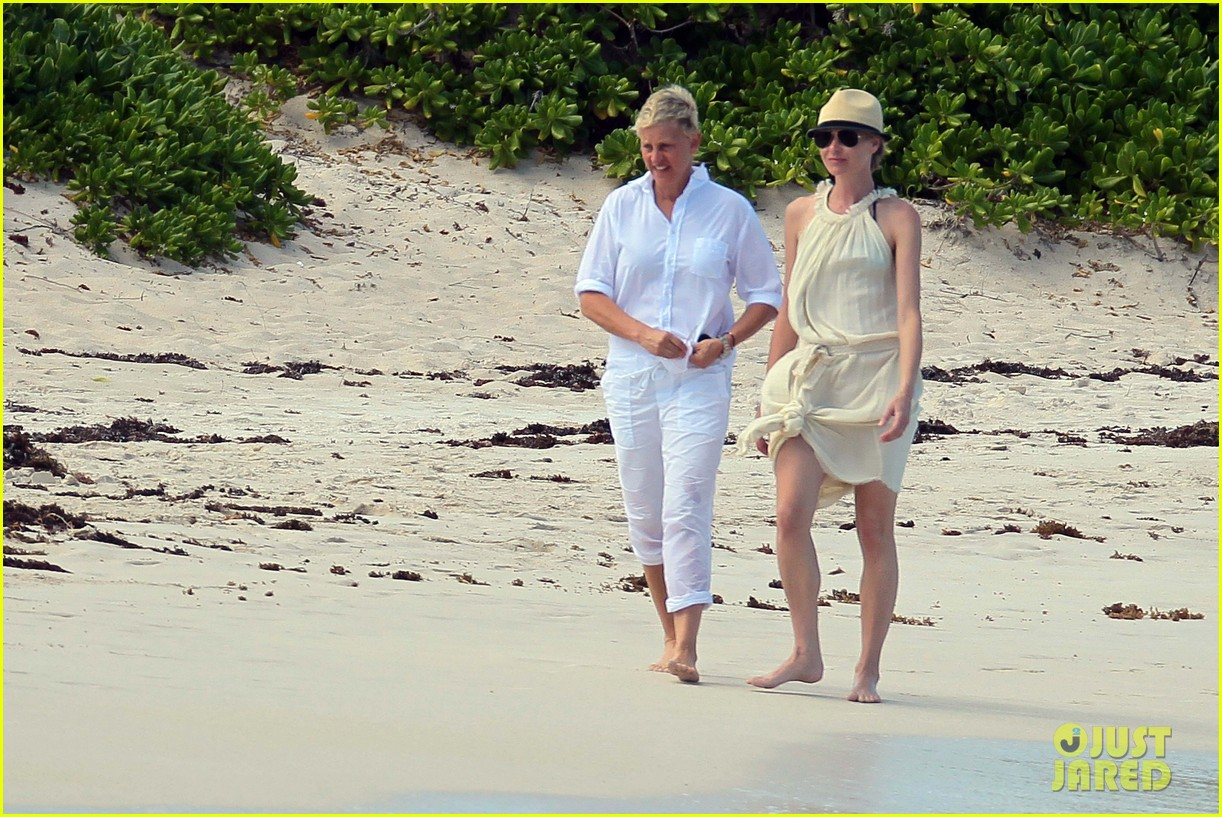 ellen degeneres portia de rossi holding hands in st barts 17