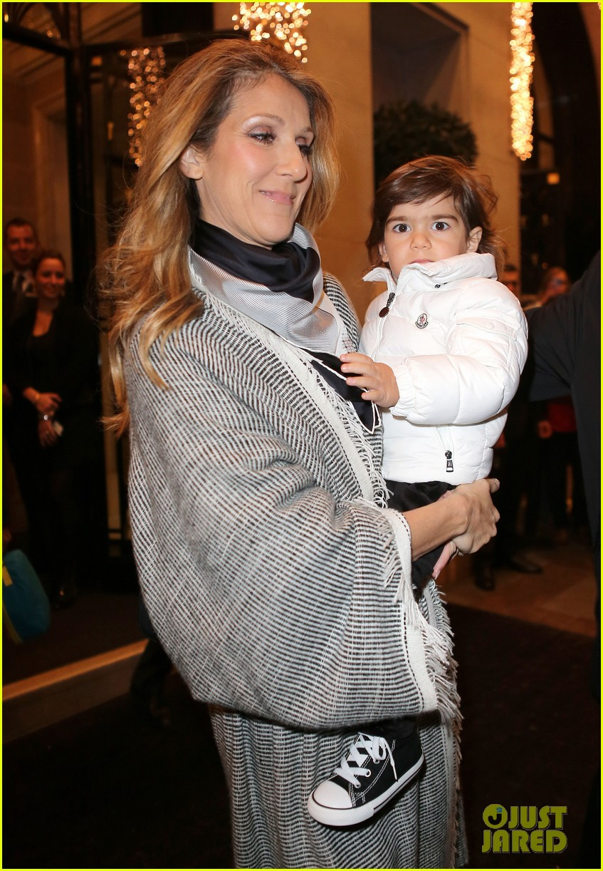 celine dion george v hotel exit with family 15