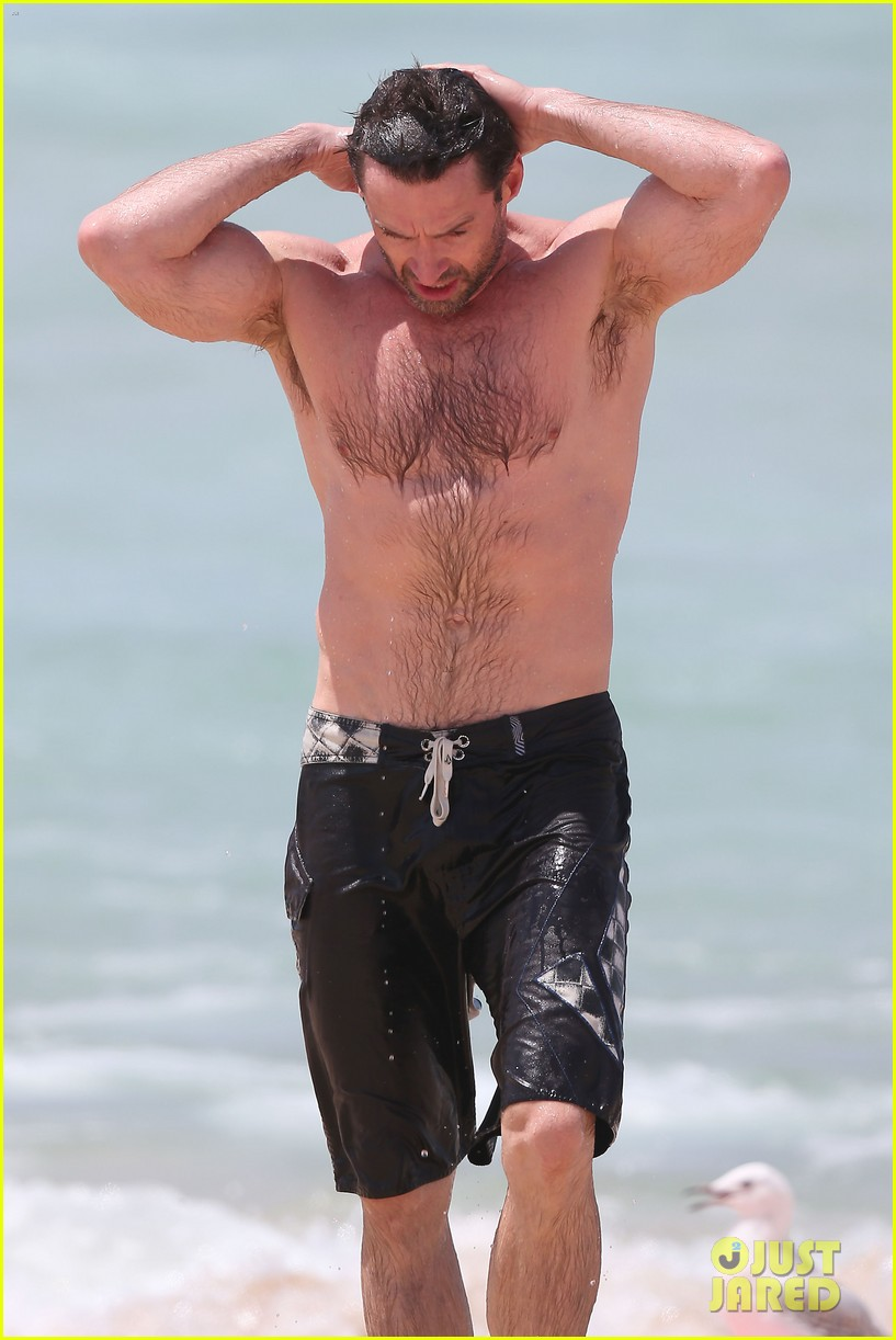 hugh jackman shirtless stud at bondi beach 01