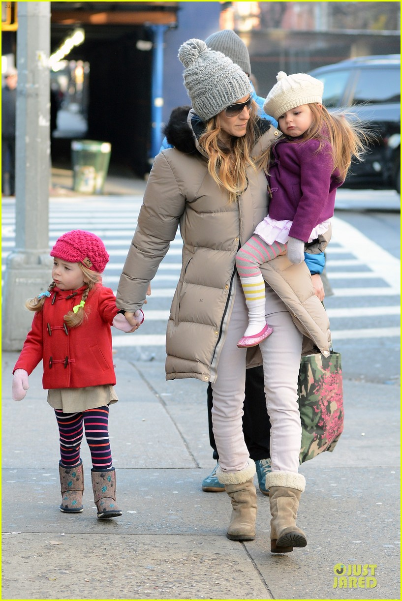 sarah jessica parker & matthew broderick school walk with the twins 12