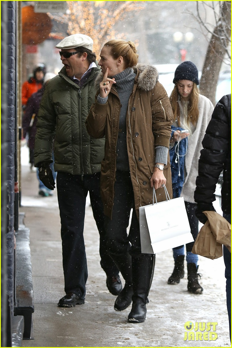 uma thurman arpad busson snow aspen stroll with maya 122780787