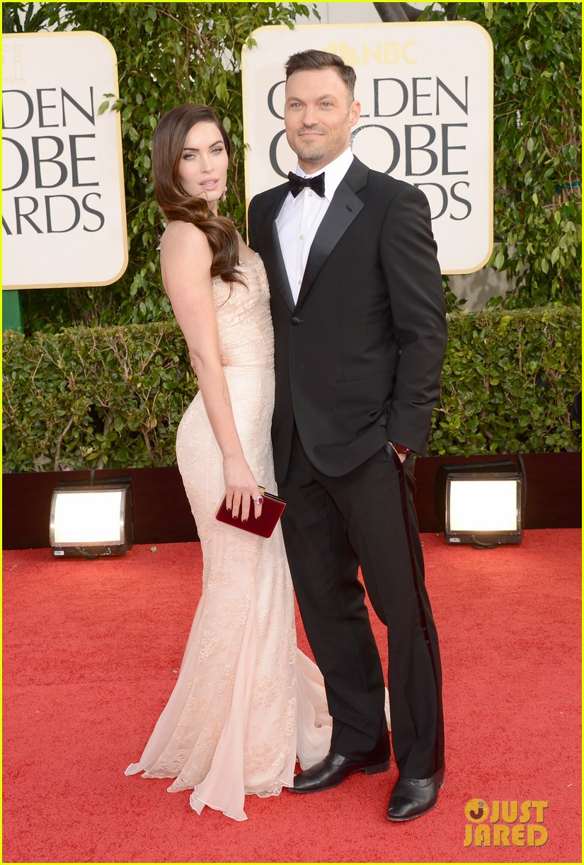 megan fox golden globes 2013 red carpet with brian austin green 012790844
