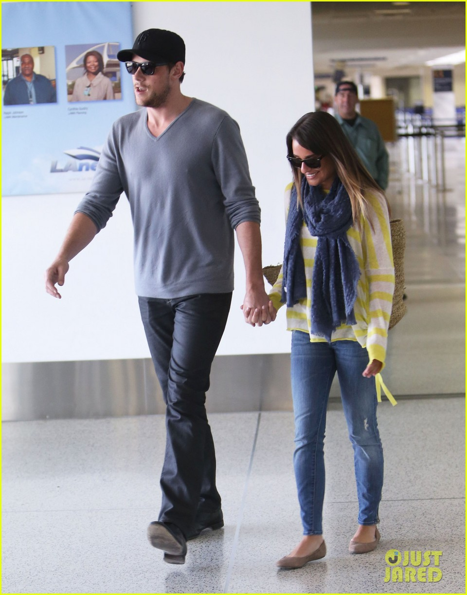 lea michele cory monteith holding hands at lax 15