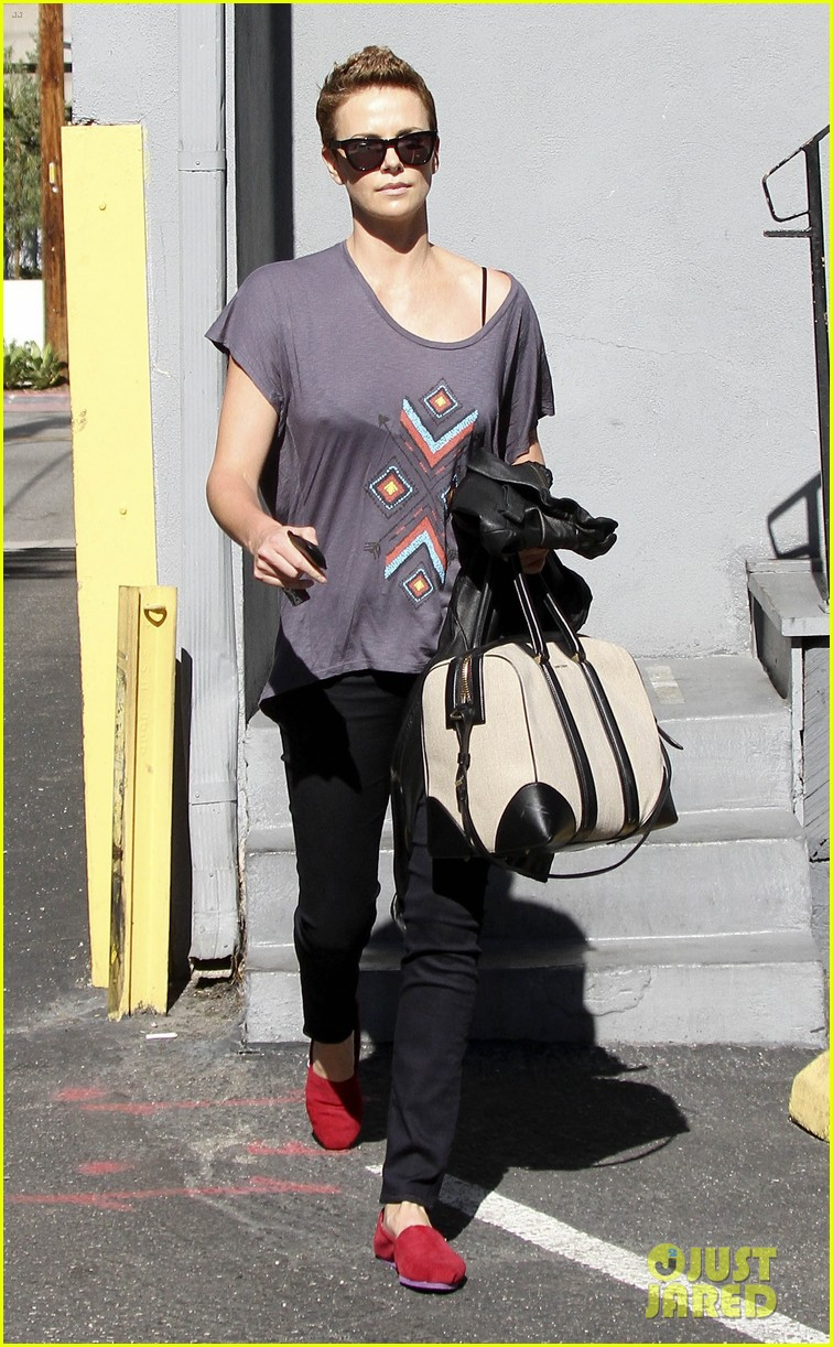 charlize theron fauxhawk hairstyle at the dance studio 072802099